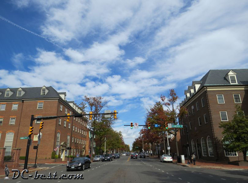 The intersection of N. Washington Street & Cameron Street in Alexandria, VA