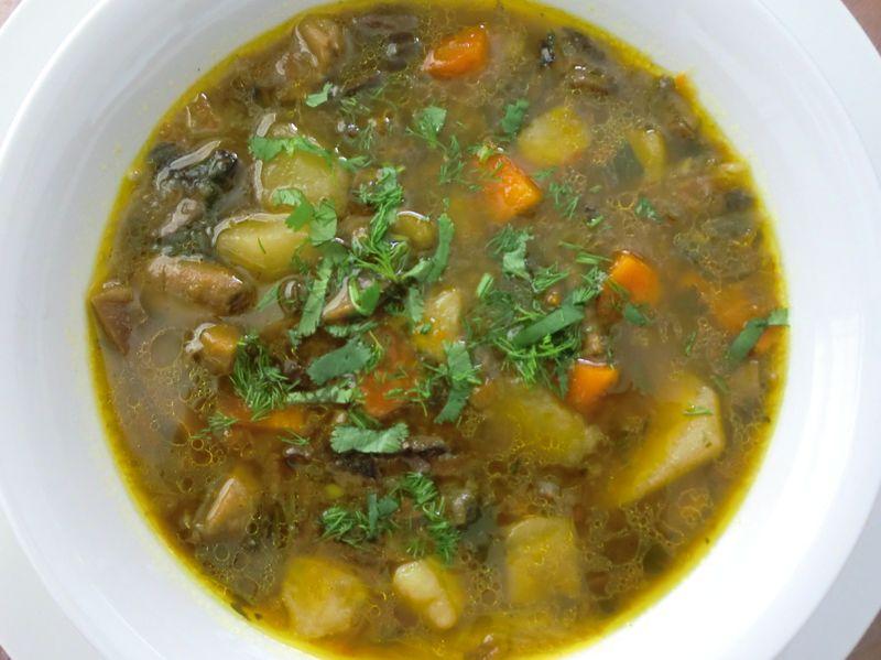 Суп со свежими и сушеными грибами