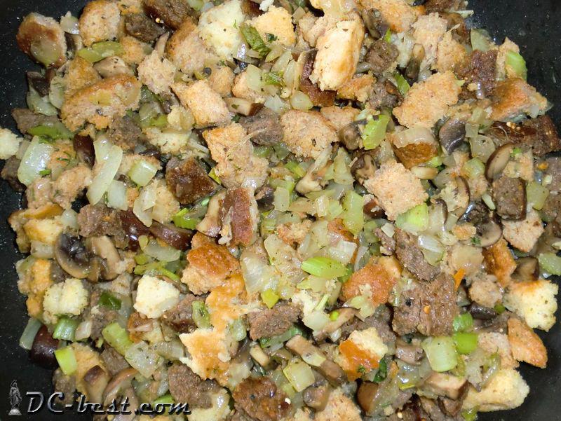 Хлебная начинка с луком, грибами, сельдереем и анисом